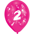 """8 Latex Balloons Age 2 2-Sided 25.4 cm / 10"""""""