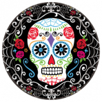 10 Plates Day of the Dead Paper Round 22.8 cm