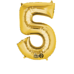 SuperShape Number 5 Gold Foil Balloon L34 Packaged 58cm x 86cm