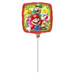 9'' Mario Bros Foil Balloon Square A20 Air Filled 23 cm
