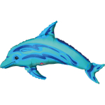 Mini Shape Ocean Blue Dolphin Foil Balloon A30 Bulk