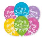 "6 Balloons latex ""Happy Birthday - Bunting"" 27,5 cm/11"""