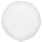 "Standard ""Metallic White"" Foil Balloon Round, S15, packed, 43cm"