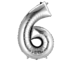 SuperShape Number 6 Silver Foil Balloon L34 Packaged 55cm x 88cm