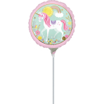 "9"" ""Magical Unicorn"" Foil Balloon Round, A15, air filled, 23cm"