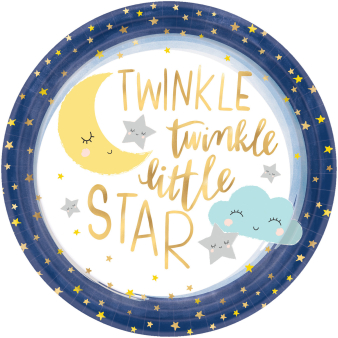8 Plates Twinkle Little Star Paper Round 26.7 cm