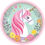 8 Plates Magical Unicorn Paper Round 17.7 cm