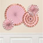 4 Fan Decorations Rose Gold Blush Paper 20.3 cm / 30.4 cm / 40.6 cm