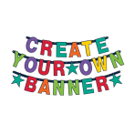 Letter Banner Birthday Accessories Rainbow Personalizable 84 Parts Height 11,4 cm