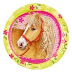 8 Plates Charming Horses Paper Round 22.8 cm