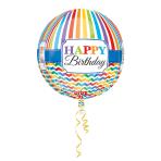 Orbz Happy Birthday Bright Stripe & Chevron Foil Balloon G20Packaged 38 x 40 cm