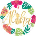 8 Plates Aloha Paper Round 26.7 cm