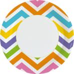 8 Plates Rainbow Chevron Paper rund 22,8 cm
