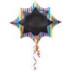 SuperShape Multi-Stripe Burst Black Board Foil Balloon P50 Packed 88 x 73 cm