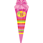"SuperShape ""School Cornet - pink"" Foil Balloon, P35, packed, 25 x 76 cm"