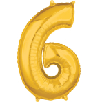 Mid Size Number 6 Gold Foil Balloon L26 Packaged 43cm x 66cm
