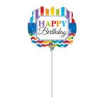 Mini Shape Happy Birthday Bright Stripe & Chevron Foil Balloon A30 Bulk