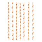 24 Drinking Straws Dots & Chevron Orange Peel Paper 19.7 cm