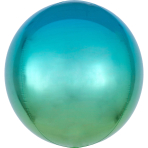 Ombré Orbz Blue & Green Foil Balloon G20 packaged