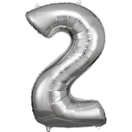 Large Number 2 Silver Foil Balloon N34 Packaged 50 cm x 88 c