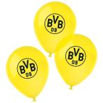 "6 Latex Balloons BVB Dortmund 4 Colours 27,5 cm / 11"""