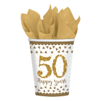 8 Cups Gold Anniversaries Paper 266 ml
