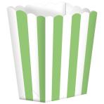 5 Popcorn Boxes Stripes Kiwi Green Paper 6.3 x 13.4 x 3.8 cm