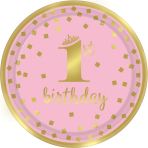 8 Plates 1st Birthday Paper Round Pink & Gold 22.8 cm