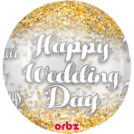 "Orbz ""Wedding Confetti"" Foil  Balloon Clear, G20, packed, 38 x 40 cm"