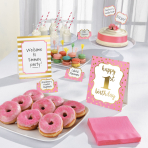 Buffet Decoration Kit 1st Birthday Pink 12 Parts Paper / Woo