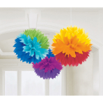 3 Fluffy Decorations Rainbow Paper 40.6 cm
