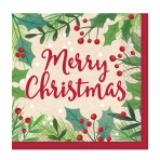16 Napkins Merry Holly Day 33 x 33 cm