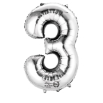 SuperShape Number 3 Silver Foil Balloon L34 Packaged 53cm x 88cm