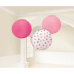 3 Lanterns Light & Dark Pink, Dots 24 cm