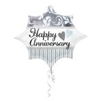 "JuniorShape ""Elegant Happy Anniversary Burst"" Foil Balloon, S50, packaged, 50 x 43 cm"