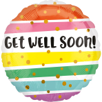 Standard Get Well Bold Stripes Foil Balloon S40 Packaged