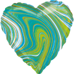 Standard Marblez Blue Green Heart Foil Balloon S18 Packaged