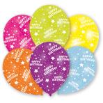 6 Latex Balloons All Round Printed Happy Birthday 27.5 cm/11''