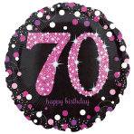Standard Pink Celebration 70 Foil Balloon, round, S55, packed, 43 cm