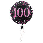 Standard Pink Celebration 100 Foil Balloon Round S55 packed 43 cm