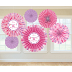 6 Fan Decorations Shower With Love - Girl Paper 20.3 cm / 30.4 cm / 40.6 cm