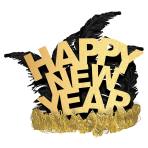 Tiara Gold Glitter Feather Happy New Year