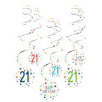 6 Swirl Decorations 21 Confetti Birthday Paper 61 cm