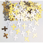 Confetti Crosses Gold / Silver Metallic Foil 14 g