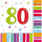 16 Napkins Radiant Birthday 80 33 x 33 cm
