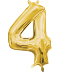 MiniShape Number 4 Gold Foil Balloon L16 Packaged 22cm x 35c