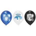 6 Latex Balloons Police 22.8 cm/9''