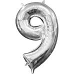 MiniShape Number 9 Silver Foil Balloon L16 Packaged 20cm x 35cm
