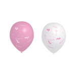 6 Latex Balloons Christening Booties - Pink 27.5 cm/11''