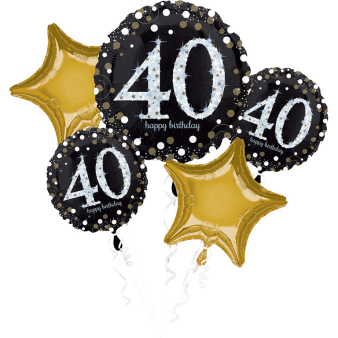 """Bouquet """"Sparkling Birthday 40"""" 5 Foil Balloons, P75, packed"""